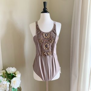 NWT ASOS Swim One Piece Champagne Beaded High Neck